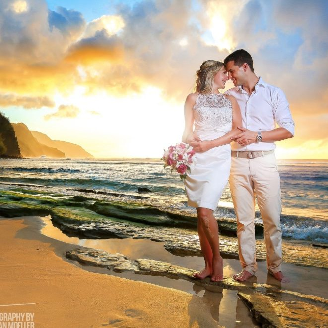 Beautiful Sunset Wedding on Kauai