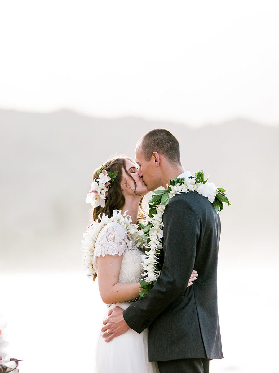 Kauai Beach Wedding - Couples Kiss!