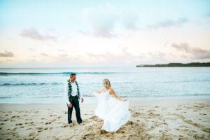 Kauai Wedding couple at the beach
