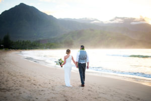Hanalei Bay Kauai Couple on the beach