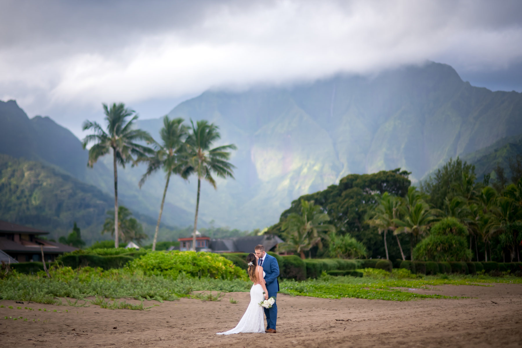 Kauai wedding couple with Hanalei mountain views