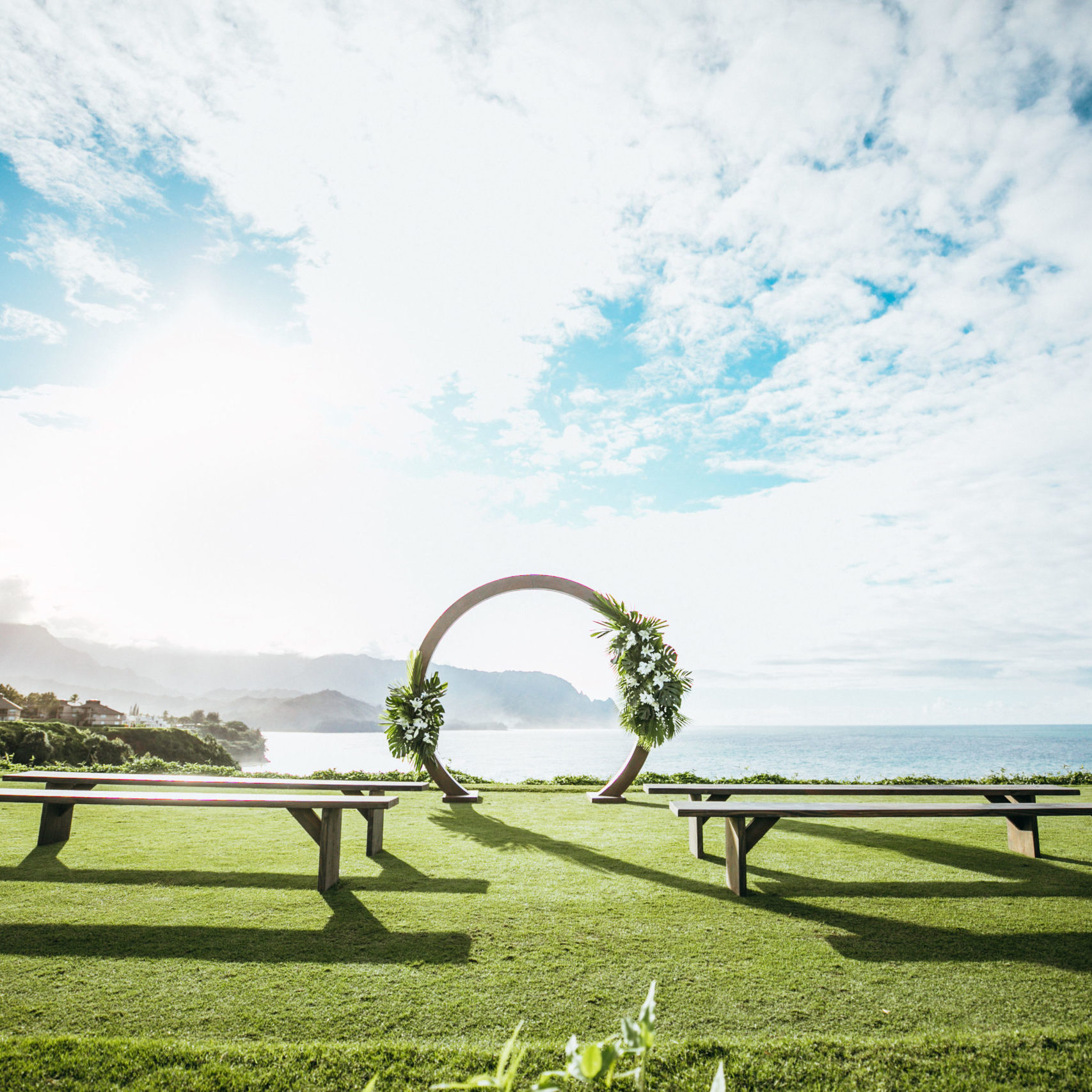 Circle wedding arch at private location in princeville